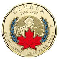 2020 Canada 75th anniversary of UN Charter COLOURED LOONIE