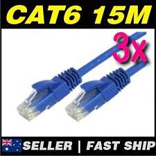 3 x 15m Blue Cat 6 Cat6 1000Mbps  RJ45 Ethernet Network LAN Patch Cable