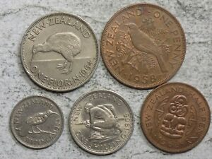 New Zealand Pre-decimal 5-Coin Set (N-72)
