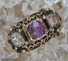 Antiker Damen Finger Ring mit Amethyst Amethysten Diamant in Gold Antik
