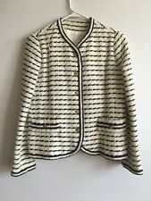 vintage 1960s ivory navy tweed striped nautical jacket gold buttons miniskirt xs