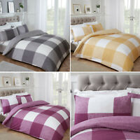 Chunky Gingham Check Reversible Duvet Cover With Pillowcases Single Double King