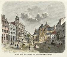 WESEL - MARKTPLATZ MIT WILLIBRORDI-DOM - Spamer - kolor. Holzstich 1882