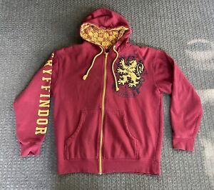 Official Universal Studios Harry Potter Gryffindor Size Medium Red Zip Hoodie