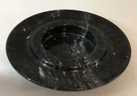 MARBLE STONE ASHTRAY, BLACK WITH WHITE MARBLED ACCENTS, MID CENTURY MODERN