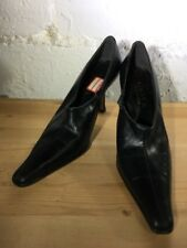 "Vintage Gama Pointed Toe Zip-Up Black Heels Size 9B 3.25"" Heel"