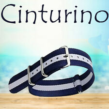 Cinturino Universale In Nylon Ricambio Orologio Larghezza 20mm Blu Bianco lack