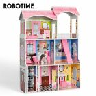Robotime Big Wooden Dollhouse Kids Doll House Toys for Chilidren Girls Gifts US