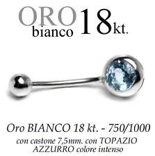 Piercing ombelico belly ORO BIANCO 18kt.CASTONE 7,5 con TOPAZIO AZZURRO intenso