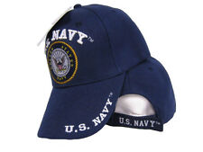 Blue United States U.S. Navy Letters on Bill Emblem Embroidered Hat Ball Cap