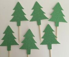 CHristmas Tree Cup Cake Toppers Green Glitter Pack of 6 - Free UK P&P