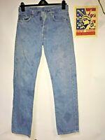 Levi's 501's jeans Straight leg Distressed Faded Hippie Boho punk Denim 33x34