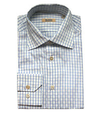 Pal Zileri Sartoriale Men's Blue White Checkered Cotton Dress Shirt Regular fit