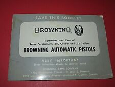 Vintage Browning 9mm Parabellum, .380 cal, .32 Automatic Pistol Owners Manual