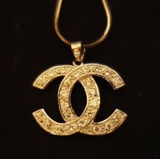 """Crystal Pendant With 16"""" Necklace Vintage Chanel Sterling Silver Cc"""