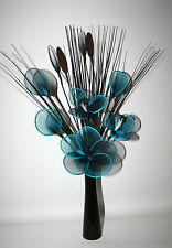 Artificial Flowers Contemporary 48cm Teal Flower Arrangement  in Vase Nylon Net