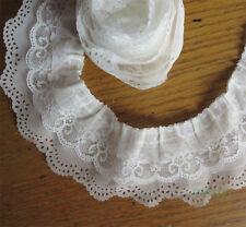 1 yard 3-layer Pleated Organza Lace Edge Trim Gathered Mesh Chiffon Ribbon White