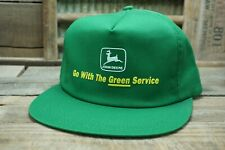 Vintage JOHN DEERE Green Service SnapBack Trucker Hat Cap K PRODUCTS Made In USA