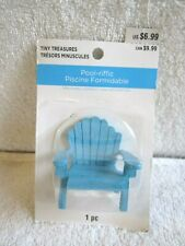 Celebrate It Tiny Treasures Pool-riffic Blue Wood Beach Chair Miniature - Nip