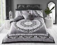 Gorgeous Black Grey And White Reversible Mandala Print Single Duvet Bedding Set