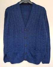 "MEN`S NEW JAMES PRINGLE CHUNKY CABLE KNIT CARDIGAN SIZE 3XL 50"" CHEST BLUE"