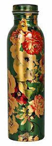 Printed Flower Design Copper Bottle (Green) 1000 ml