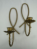 Vintage MCM Gold Finished Metal Scrollwork/Rope Candle Wall Sconces Retro