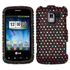 For LG Enlighten Optimus Q Slider Crystal Diamond BLING Case Cover Rainbow Dots