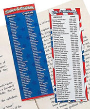 Lot of 12 Patriotic Bookmarks U. S. Presidents/States & Capitals #6663 FREE SHIP