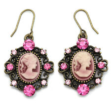 Fuchsia Pink Cameo Dangle Earrings Antique Style Gold Tone Crysal Stone Charm h1
