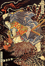 Japanese Killing a Monstrous Tengu Woodblock Vintage Art Print By Kuniyoshi A3