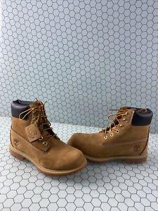 Timberland 6 Inch Premium Wheat Nubuck Waterproof Lace Up Boots Women's Size 8 M