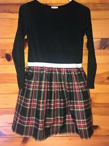 Crewcuts Christmas Holiday Red & Black Plaid Dress Silver Accent EUC Girls Sz 12