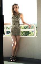 LIPSLIDE Olive Taupe Tribal Aztec Stretch Mini Dress