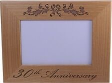 30th Anniversary - 4x6 Inch Wood Picture Frame - Great Anniversary gift for frie