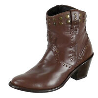 Stetson Womens Western Cowboy Studded Ankle Boots Size 10.5B Brown Leather Zip