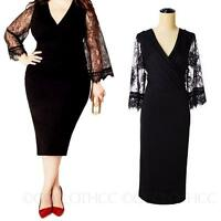 CCC womens lady Long 3/4 Sleeve Lace Prom Cocktail Bodycon Dress Plus Size 8-20