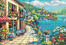 Cross Stitch Kit ~ Gold Collection Overlook Cafe Seaside Town Garden #65093