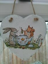 Decoupage Slate Hanging Heart Handcrafted 15cm Home Decor Time for tea Gift