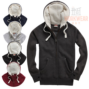 Sherpa Hoodie Half Sherpa Front Panel and Hoodie with Thumb Holes MENS UNISEX