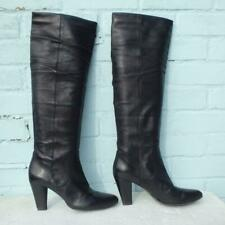 Hobbs Leather Boots Size Uk 7.5 Eur 40.5 Sexy Womens Pull on Black Boots