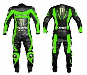 Customized Kawasaki Biker Racing Leather Motorcycle Motorbike 1 and 2 Piece Suit