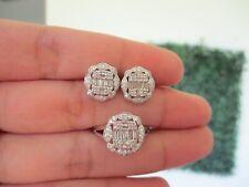 .49 CTW Diamond 3-Way Earrings&Ring Set 14k White Gold JS93 sep