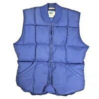 REI 80s Vintage Down Filled Puff Vest Men's Medium Blue Zip Insulated