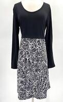 Prana Womens XL Black White Abstract Print Long Sleeve Moxie Jersey Midi Dress