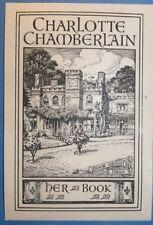 EX LIBRIS engraving-CHARLOTTE CHAMBERLAIN- Moor Green Hall, Birmingham - c.1900