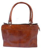 Genuine Leather Handmade Zipped Top Smart Bag in Tan and Brown