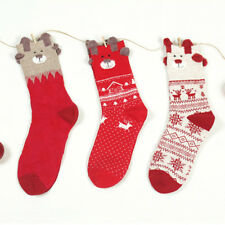 3Pair/Pack Red Women Christmas Socks Casual Warm Soft Cotton Socks Gift One Size