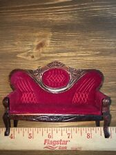 Victorian Sofa Red Velvet Walnut Trim Dollhouse Miniature 1:12 Scale Furniture