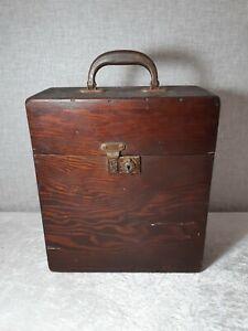 Antique Gramophone Wooden Record Box Carry Case 78rpm Vinyl Vintage Storage